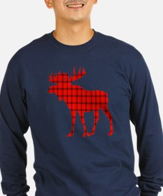 Moose: Rustic Red Plaid Long Sleeve T-Shirt