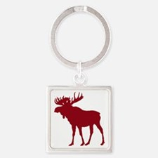 Moose: Rustic Red Square Keychain