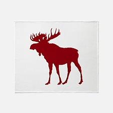 Moose: Rustic Red Throw Blanket