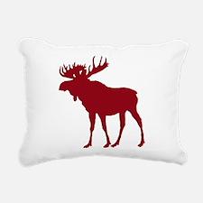 Moose: Rustic Red Rectangular Canvas Pillow