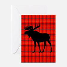 Moose: Rustic Red Plaid Greeting Cards