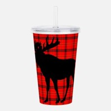 Moose: Rustic Red Plaid Acrylic Double-wall Tumble