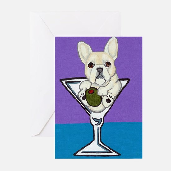 Fawn French Bulldog Martini Greeting Cards (Packa