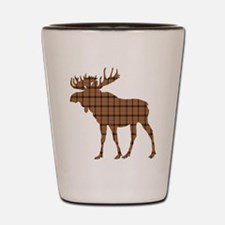 Moose: Brown Plaid Shot Glass