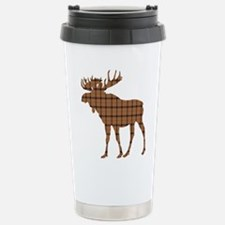Moose: Brown Plaid Stainless Steel Travel Mug