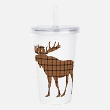 Moose: Brown Plaid Acrylic Double-wall Tumbler