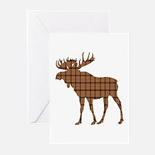 Moose: Brown Plaid Greeting Cards (Pk of 10)