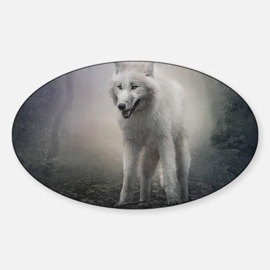 White Wolf Sticker (Oval)