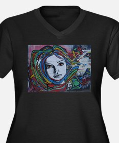 Graffiti Girl with Rainbow Hair Plus Size T-Shirt