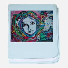 Graffiti Girl with Rainbow Hair baby blanket