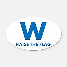 W Raise the Flag Oval Car Magnet