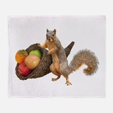 Squirrel with Cornucopia Throw Blanket