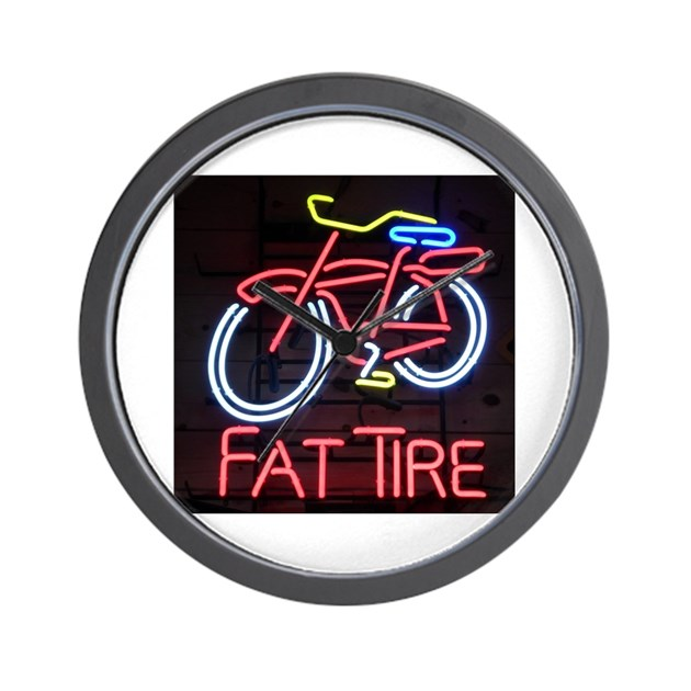 Neon Fat Tire Sign Wall Clock By Admin CP132385173