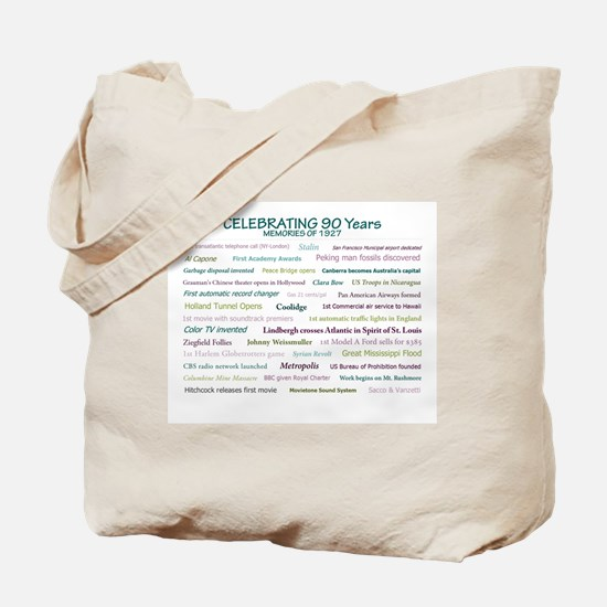 Memories of 1927 for 90th milestone birthday Tote