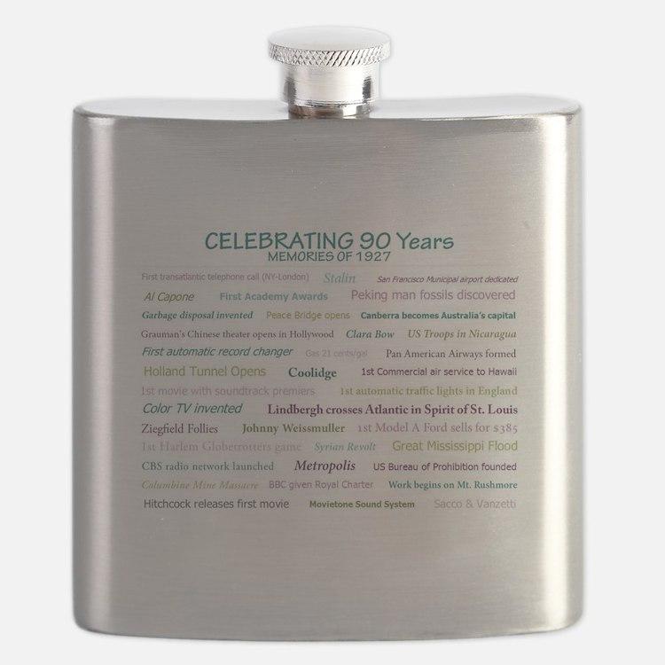 Memories of 1927 for 90th milestone birthday Flask