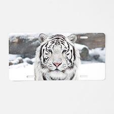 White Tiger Aluminum License Plate