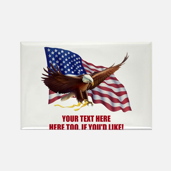 PERSONALIZED AMERICAN FLAG EAGLE Rectangle Magnet