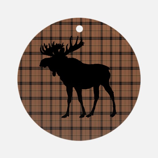 Moose: Brown Plaid Round Ornament