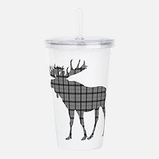Moose: Grey Plaid Acrylic Double-wall Tumbler