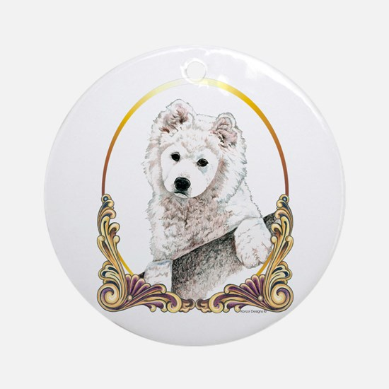 Samoyed Puppy Holiday Round Ornament