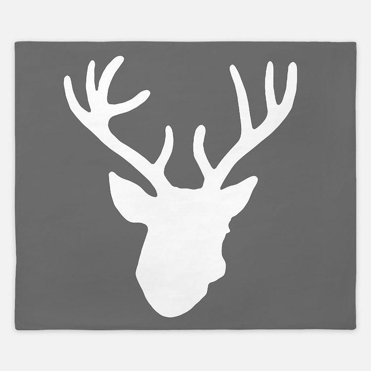 Deer Head: Rustic Grey King Duvet