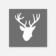"Deer Head: Rustic Grey Square Sticker 3"" x 3"""