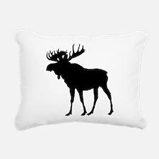 Moose: Black Rectangular Canvas Pillow