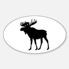 Moose: Black Sticker (Oval)