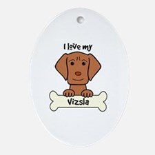 Cute Dog breed vizsla Oval Ornament