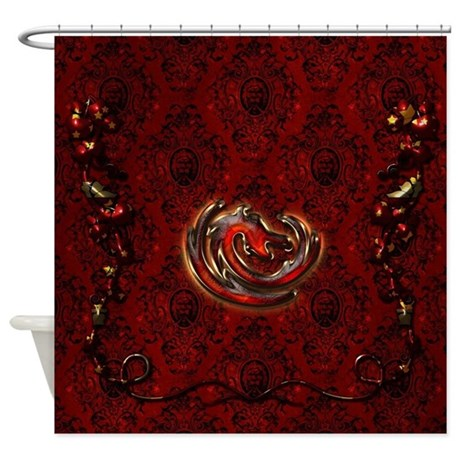 Dragon In Gold And Red Shower Curtain By Fantasyworld10