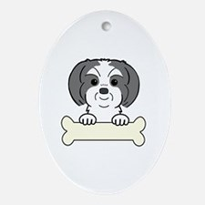 Cute Shih tzu christmas Oval Ornament