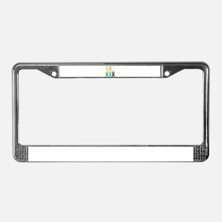 SIx Awareness Ribbons License Plate Frame