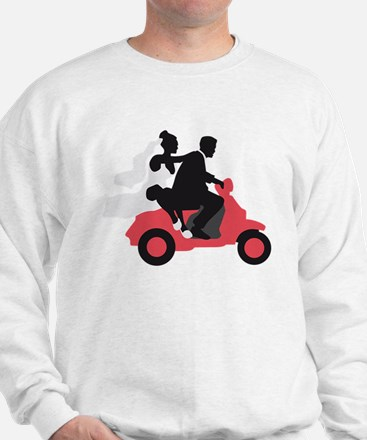just married couple on scooter Sweatshirt