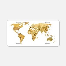'Golden World' Aluminum License Plate