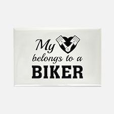 My Heart Belongs To A Biker Rectangle Magnet