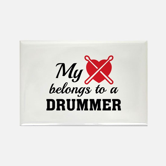 Heart Belongs Drummer Rectangle Magnet (100 pack)