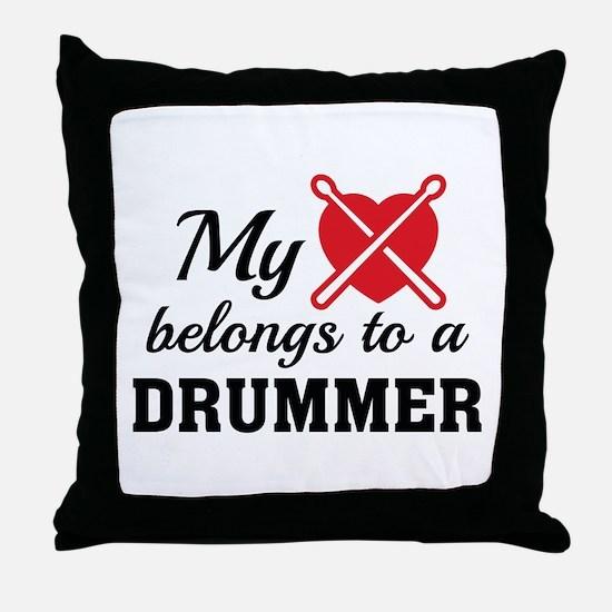 Heart Belongs Drummer Throw Pillow