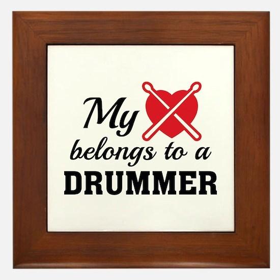 Heart Belongs Drummer Framed Tile