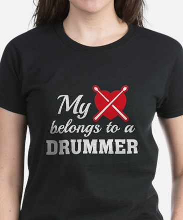 Heart Belongs Drummer Women's Dark T-Shirt