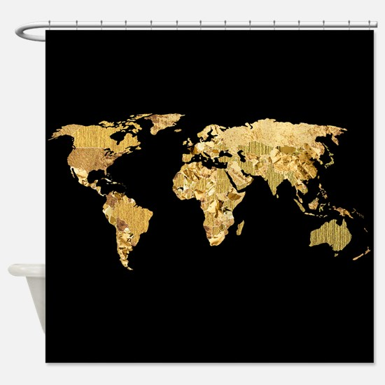 'Gold Foil Map' Shower Curtain