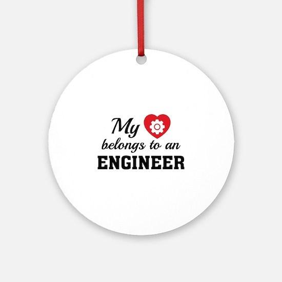 Heart Belongs Engineer Ornament (Round)