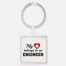 Heart Belongs Engineer Square Keychain