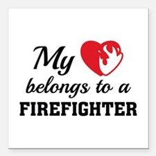 "Heart Belongs Firefighter Square Car Magnet 3"" x 3"
