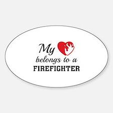 Heart Belongs Firefighter Decal