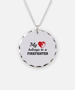 Heart Belongs Firefighter Necklace