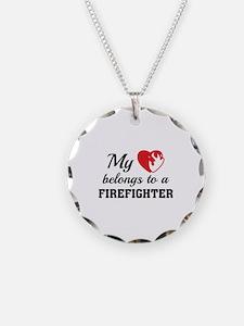 Heart Belongs Firefighter Necklace Circle Charm