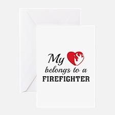 Heart Belongs Firefighter Greeting Card