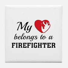 Heart Belongs Firefighter Tile Coaster
