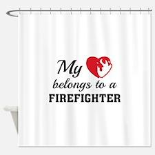 Heart Belongs Firefighter Shower Curtain