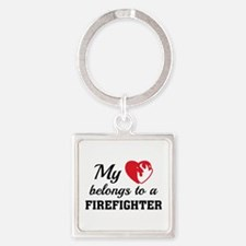 Heart Belongs Firefighter Square Keychain